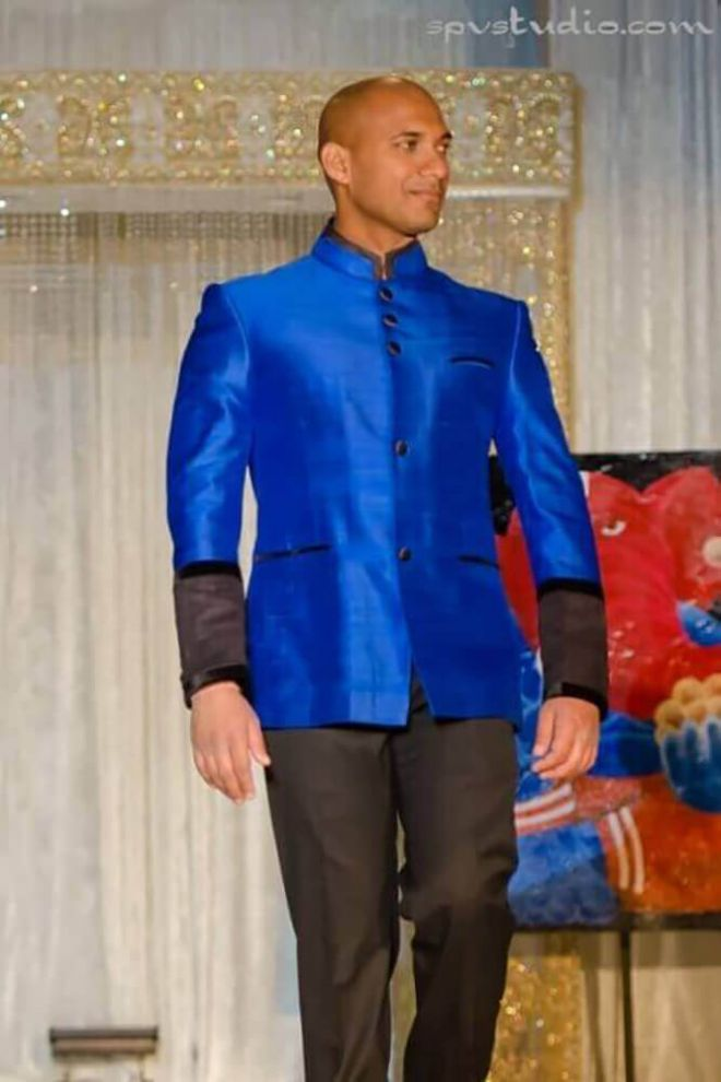 Cobalt blue silk Nehru Jacket