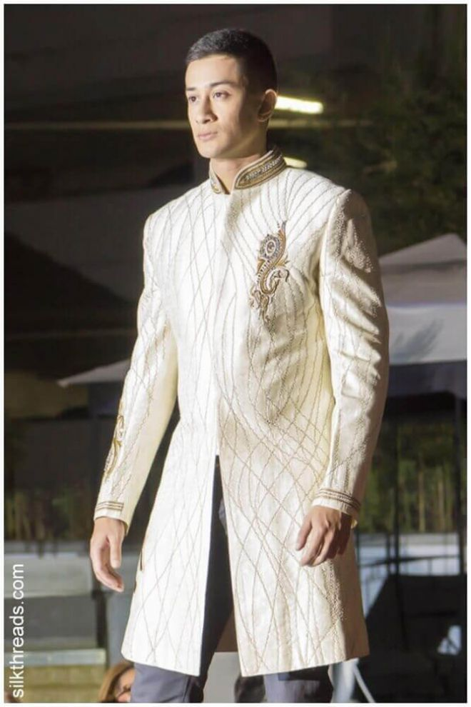 Cream Gold Nehru Jacket