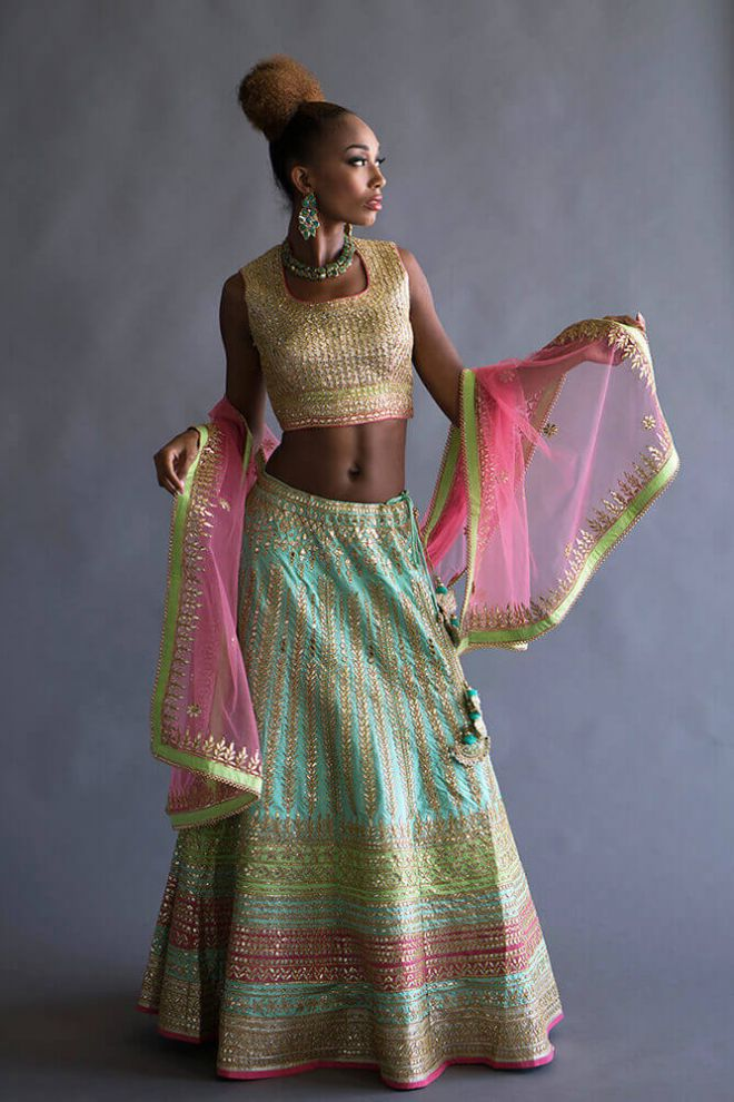 gold, pink, and mint lengha