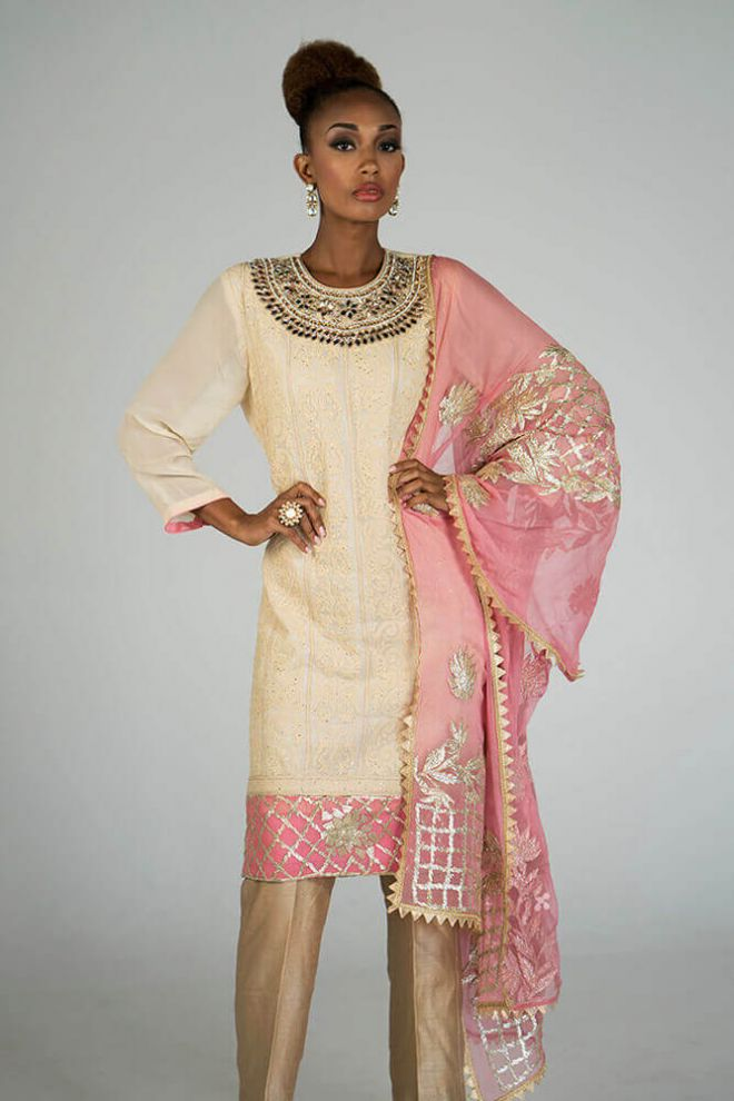 ivory and gold lucknowi kurta