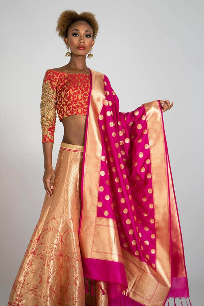 peach and gold lengha