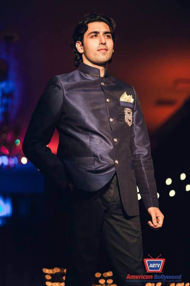 Navy Silk Nehru Jacket