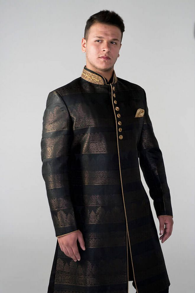brown and black nehru jacket