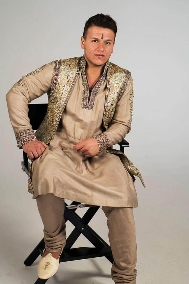 tan silk kurta