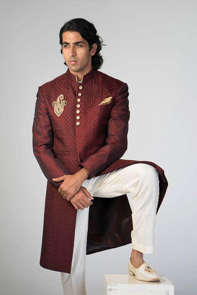 maroon silk nehru jacket