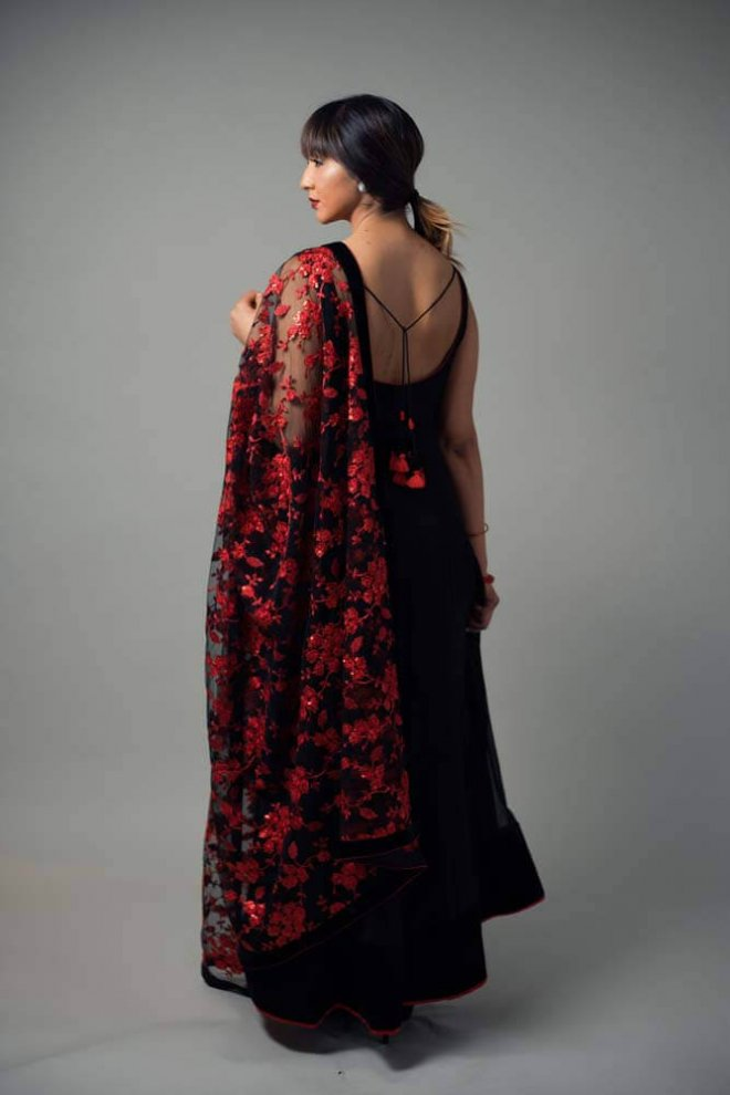black velvet dress with red floral embroidery